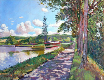 Bourgogne Canal 2005 26x30 Original Painting by David Lloyd Glover