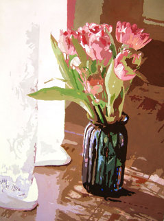 Tulips in Blue Glass 24x18 Original Painting by David Lloyd Glover