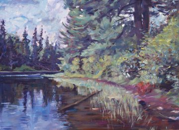 Lakes Edge 2013 18x24 Original Painting - David Lloyd Glover