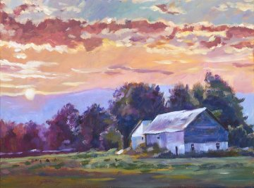Days End 18x24 Original Painting - David Lloyd Glover