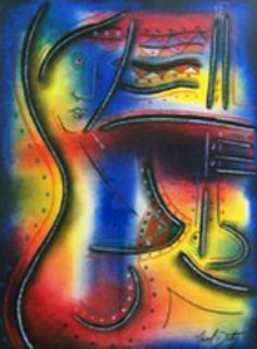 Flutist Masquerade 34x29 Works on Paper (not prints) by Neal Doty