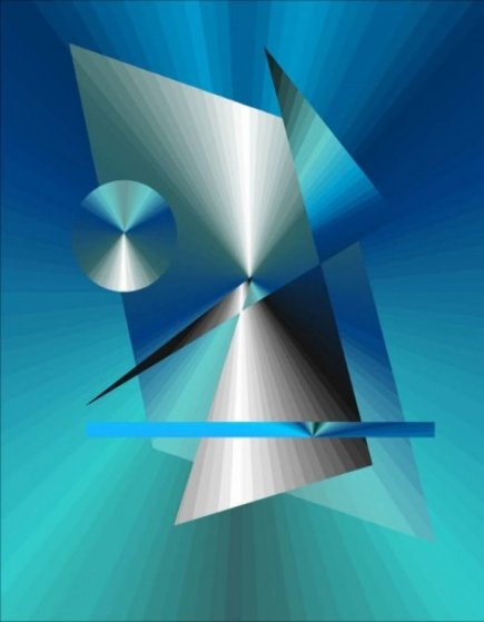 Blue Green Architron 2014 Limited Edition Print by Neal Doty