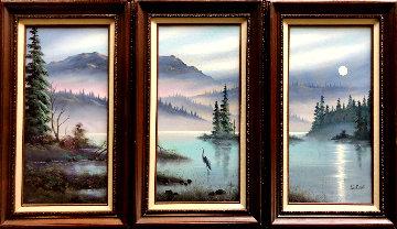 Untitled Landscape Triptych 30x54 Original Painting - Lionel Dougy