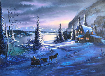 Mountain Christmas 1995 39x51 Original Painting - Lionel Dougy