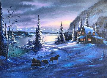 Mountain Christmas 1995 39x51 Huge Original Painting - Lionel Dougy