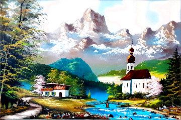 Untitled Landscape 1978 30x42 Original Painting - Lionel Dougy