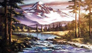 Snow-Capped Mountain Landscape 24x36 Original Painting - Lionel Dougy
