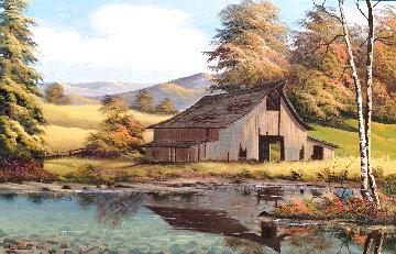 Untitled Cabin Landscape 28x38 Original Painting - Lionel Dougy
