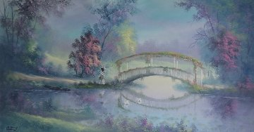 Untitled (Pond with Bridge) 1980 24x48 Huge Original Painting - Lionel Dougy