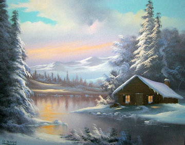 Mountain Cabin 24x27 Original Painting - Lionel Dougy