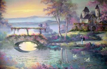 Untitled Landscape 1980 30x48 Huge Original Painting - Lionel Dougy