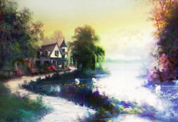 Untitled Pond Landscape 30x40 Original Painting - Lionel Dougy