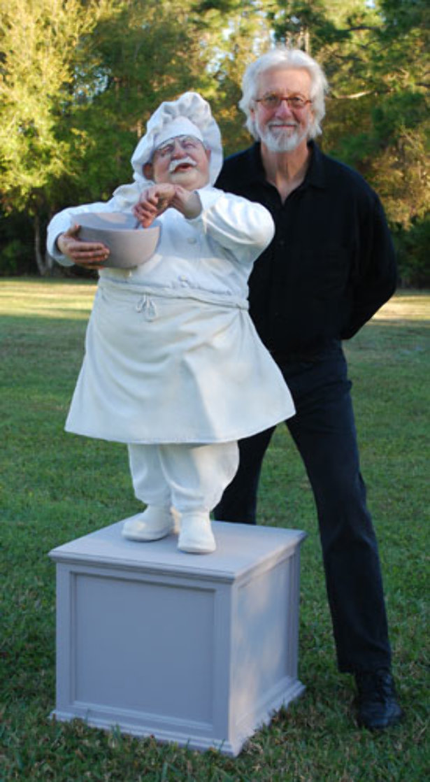 Singing Chef 3/4 Life Size Sculpture 2009 Sculpture by Jack Dowd