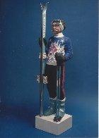 Skier Gypsum Cement Sculpture Life Size Sculpture by Jack Dowd - 1