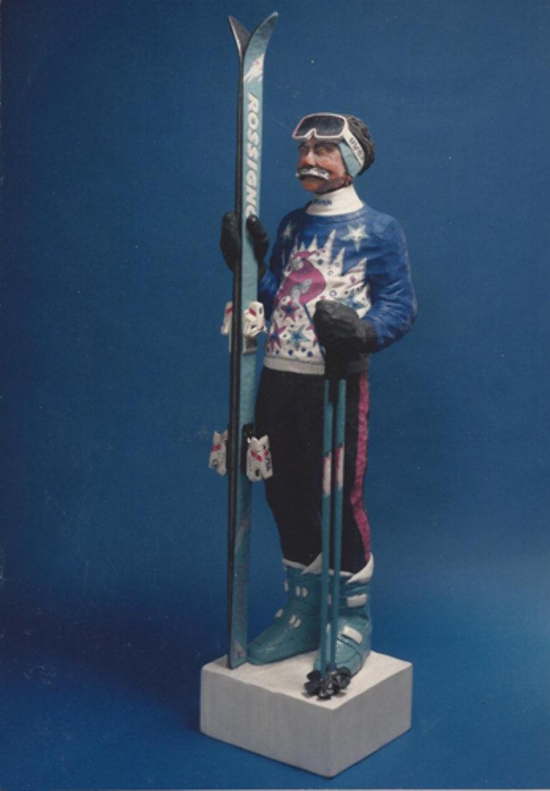 Skier Gypsum Cement Sculpture Life Size Sculpture by Jack Dowd