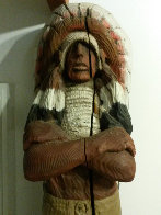 Chief Cigar Store Wooden Indian Sculpture 1977 84 in Tall Sculpture by Jack Dowd - 2