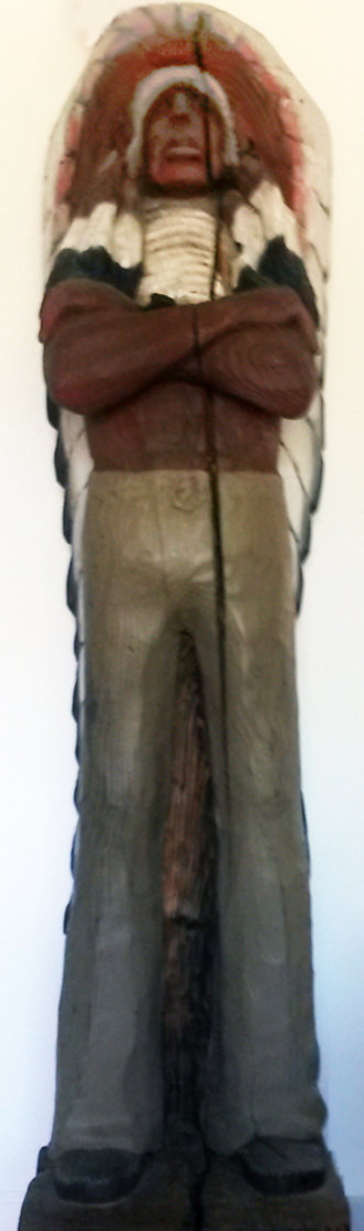 Chief Cigar Store Wooden Indian Sculpture 1977 84 in Tall Sculpture by Jack Dowd