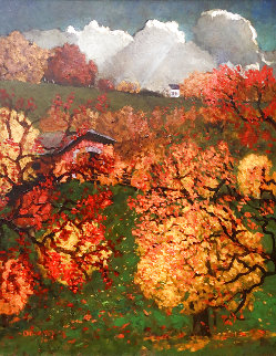 New England Fall 2020 34x28 Original Painting - Dennis Downey