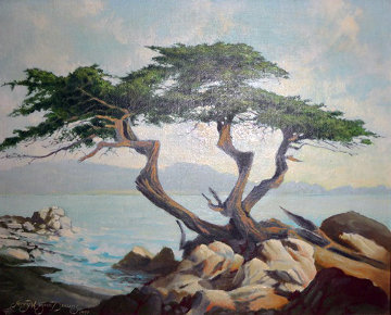 Carmel Sculpture 1971 (Lone Cypress) 10x12 Original Painting - Jerry Wayne Downs
