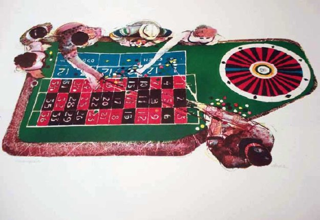Gamblers Suite: Croupier Limited Edition Print by John Doyle