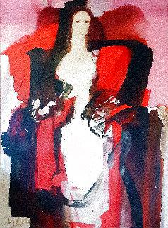 Caryatid 1995 53x42 Huge Original Painting - Dzemma  Skulme