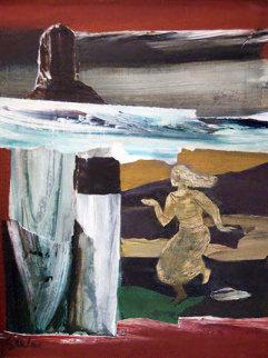 Untitled II Latvian Woman 1972 40x40 Original Painting by Dzemma  Skulme