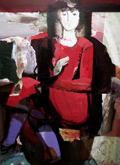 Marta with Purple Stockings 1978 51x49 Original Painting by Dzemma  Skulme