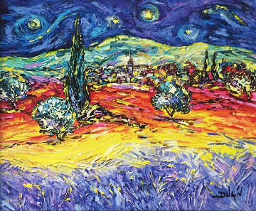 Multicolor Van Gogh 2014 Embellished  Limited Edition Print -  Duaiv