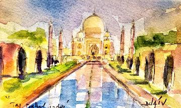 Taj Mahal India Watercolor 2015 16x19 Watercolor -  Duaiv