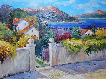 Coastal Landscape With Cottages And Garden Behind Gated Stone Wall 41x50 Super Huge  Original Painting - Valentina DuBasky
