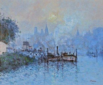 La Seine a Eauplet 1995 33x38  Rouen Original Painting - Jean Pierre DuBord