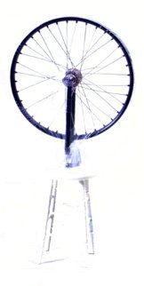 Bicycle Wheel Metal, Rubber, and Wood Sculpture 2002 9 in Panorama - Marcel Duchamp