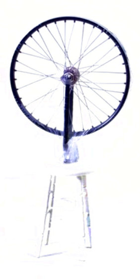 Bicycle Wheel Metal, Rubber, and Wood Sculpture 2002 9 in Panorama by Marcel Duchamp
