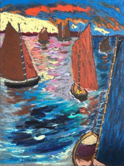 Quelques Voilures, La Trinite 2004 32x23 Original Painting by Jean Duquoc