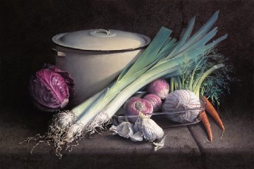 Making Leek Soup 2005 36x26 Original Painting - Oscar Durand