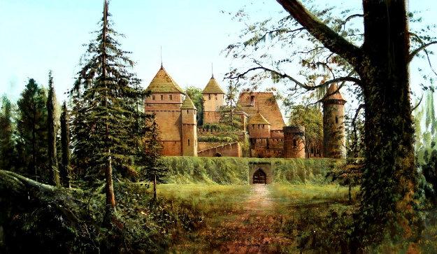 Untitled Castle 35x57 Original Painting by Syd Dutton