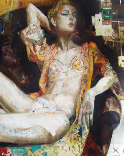 Havana, Cuba 2002 80x68 Super Huge  Original Painting - Charles Dwyer