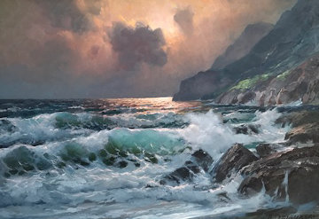 Untitled Seascape 33x45 Original Painting - Alex Dzigurski
