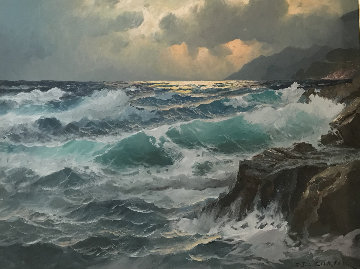 Untitled (Seascape) 24x36 Original Painting - Alex Dzigurski