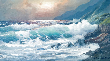 Coast At Night, California 1974 26x44 Original Painting - Alex Dzigurski