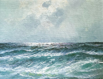 Untitled Painting (Seascape) 12x14 Original Painting - Alex Dzigurski