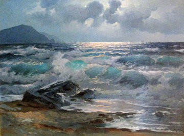 California Coast 1963 42x32 Original Painting - Alex Dzigurski