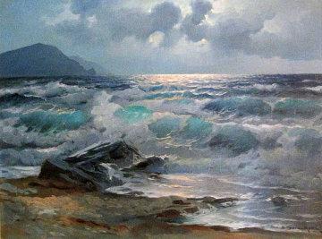 California Coast 1963 42x32 Huge Original Painting - Alex Dzigurski