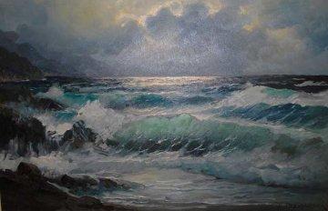 Untitled Seascape 30x42 Original Painting - Alex Dzigurski