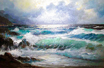 Untitled Seascape 30x42  Huge Original Painting - Alex Dzigurski