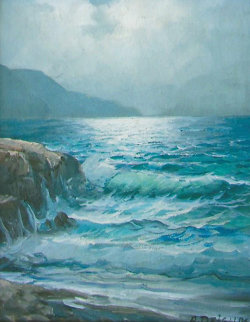 Untitled Seascape 1967 8x10 early work Original Painting by Alex Dzigurski