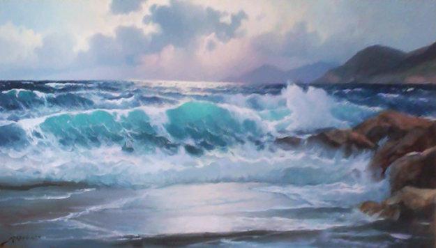 American Marine Landscape 1960 27x51 Original Painting by Alex Dzigurski