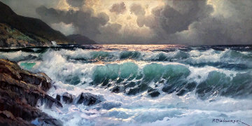 Seascape  1967 57x34 Original Painting - Alex Dzigurski