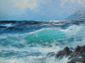 Green Surf 1972 24x20 Original Painting by Alex Dzigurski