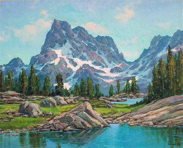 Banner Peak, Eastern Sierras 2010 38x34 California 28x34 Original Painting - Alex Dzigurski II
